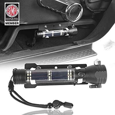 u-Box Front Seat Flashlight Mount w/Outdoor Solar Safety Hammer LED Flashlight for 2011-2020 Jeep Wrangler JK & JK Unlimited: Automotive