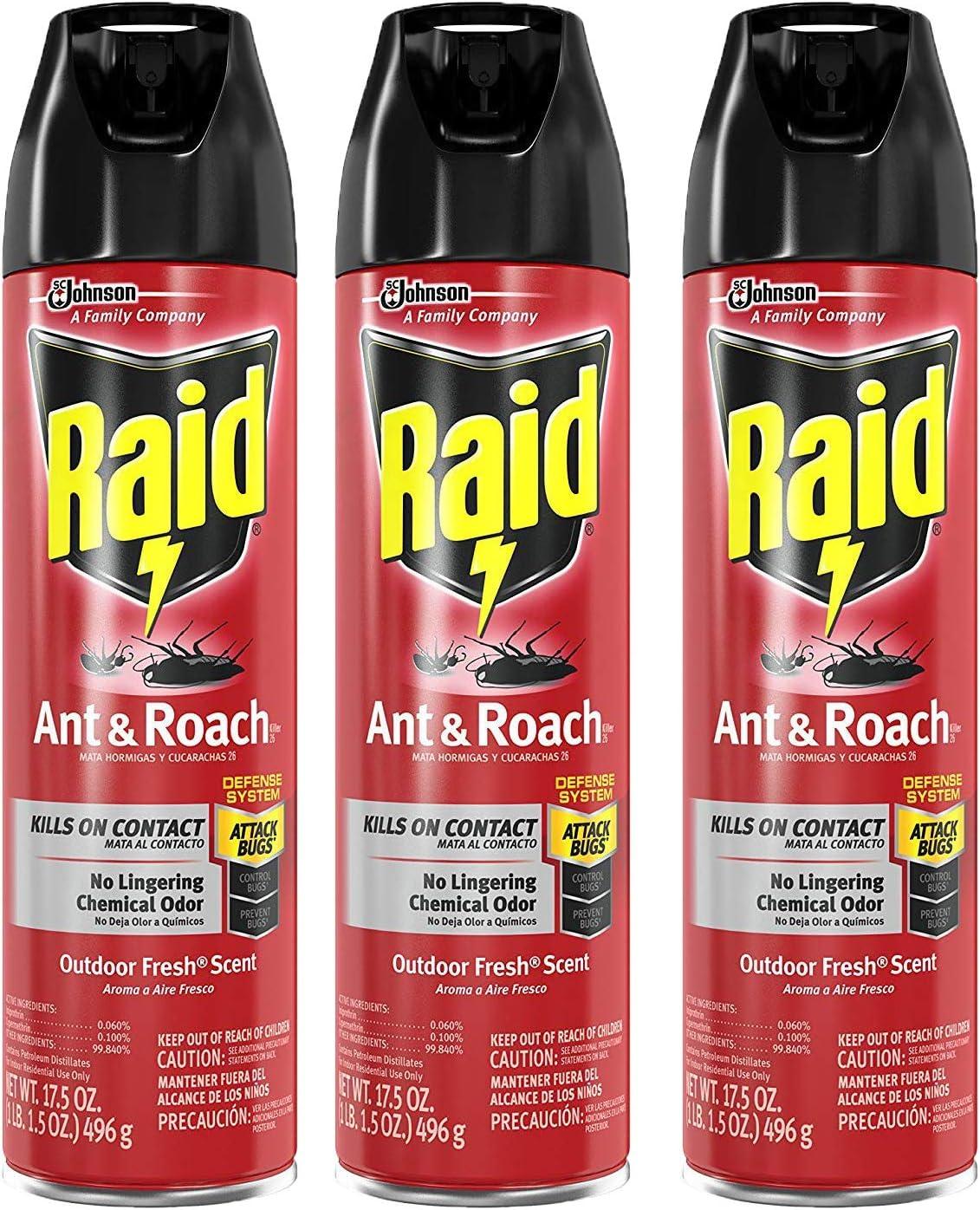 Raid Ant & Roach Killer Defense System, Outdoor Fresh Scent, 17.5 OZ (Pack - 3)
