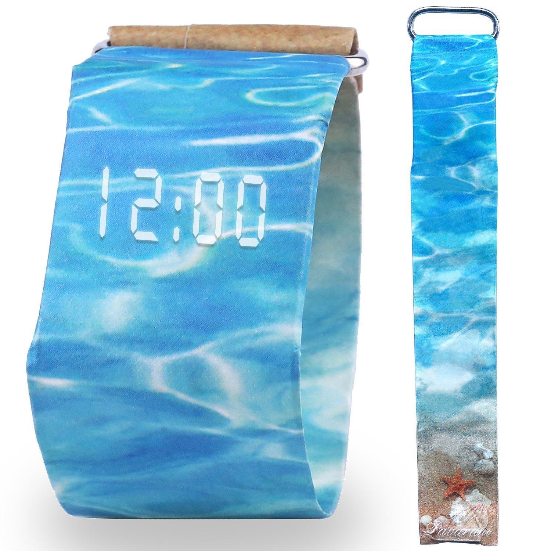 Pavaruni Paper Watch, Waterproof Tyvek Handmade Digital Wrist Watch, Christmas Gift for Friends and Family, Wooden Watch (Summer Heat)