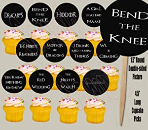 Party Over Here Game of Thrones QUOTES LINES PHRASES Double-sided Images Cupcake Picks Cake Topper -12