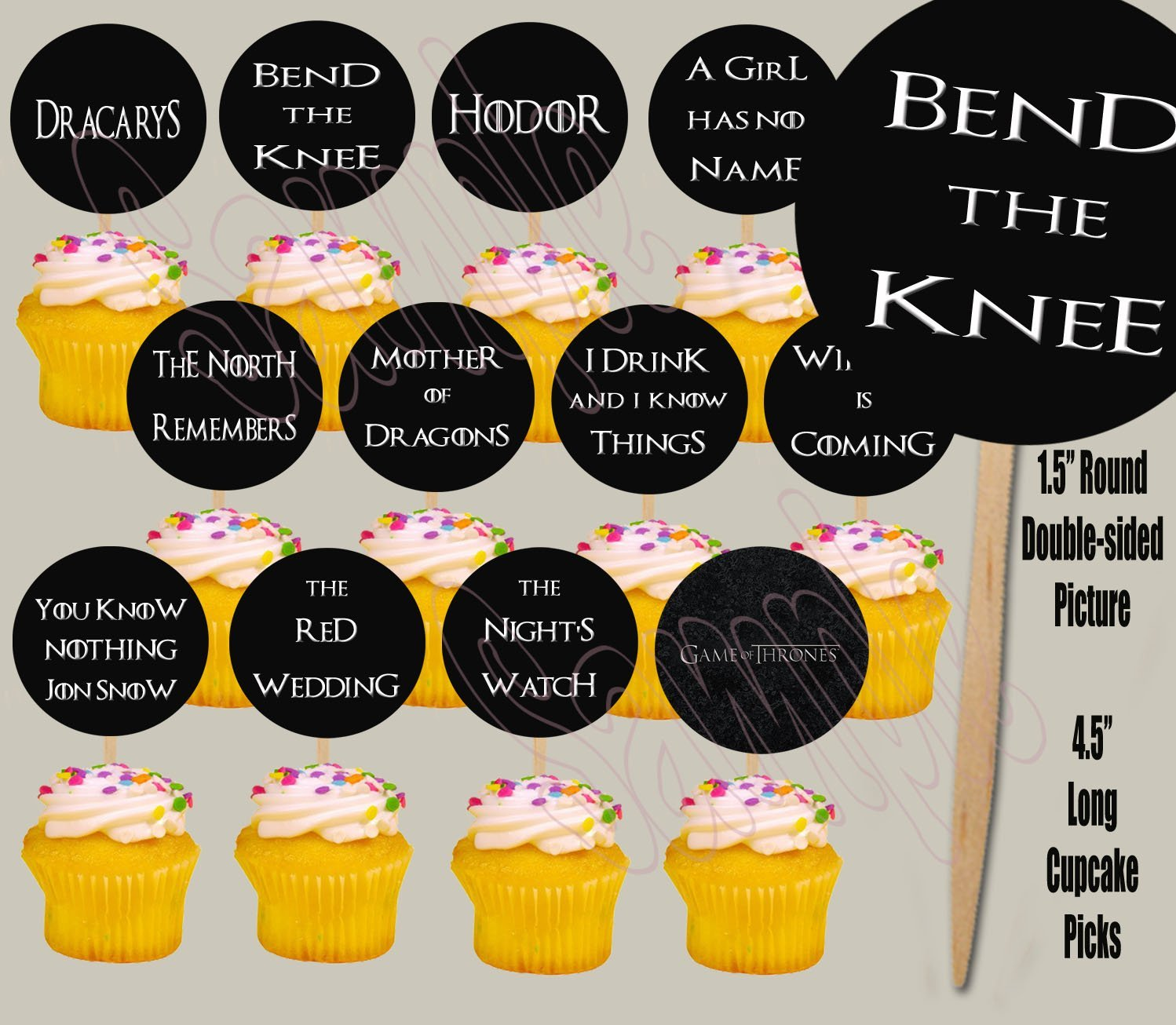 Party Over Here Game of Thrones QUOTES LINES PHRASES Double-sided Images Cupcake Picks Cake Topper -12 by Party Over Here
