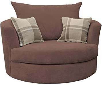 large swivel round cuddle chair fabric chocolate amazon co uk