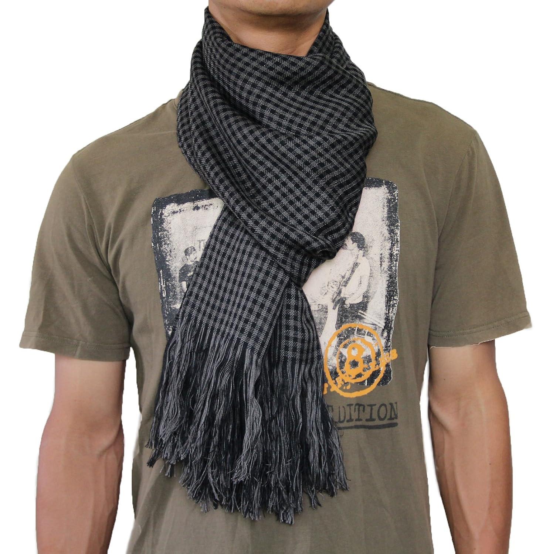 Seamaidmm Mens Reversible Check W// Tassel Fall//Winter Knit Scarf Grey+Black
