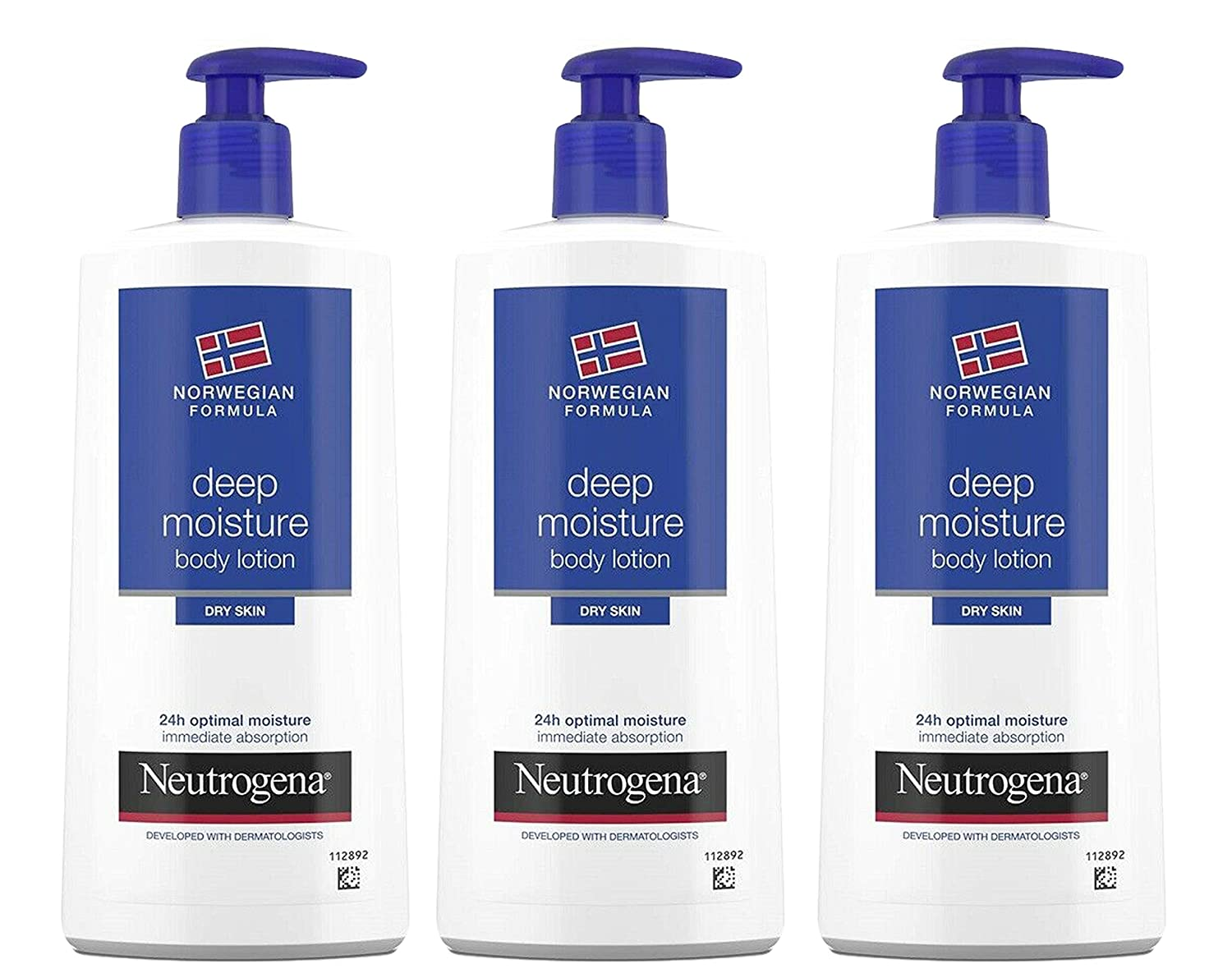 Neutrogena Deep Moisture Body Lotion for Dry Skin, Norwegian Formula, 24 Hour Moisture, 13.5 Ounce (Pack of 3)