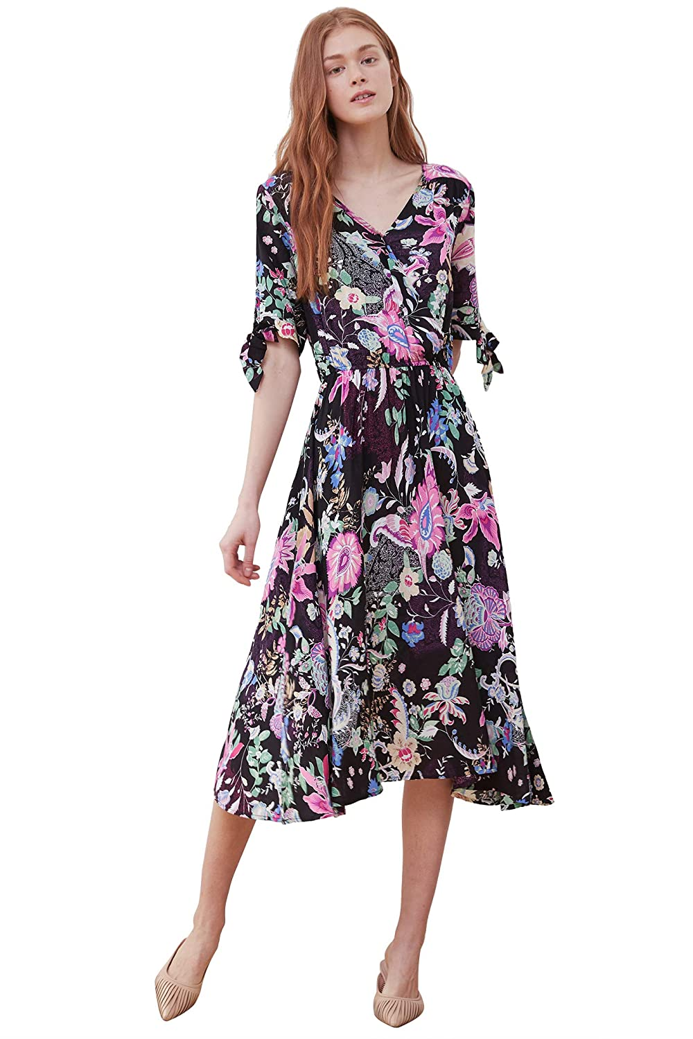 d7493413b71 Pintage Women s Summer Boho Midi Wrap Dress at Amazon Women s Clothing  store