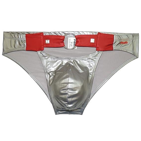 Pikante Slip-Brief Bling Ropa Interior para Hombres, Gris, Ta. M