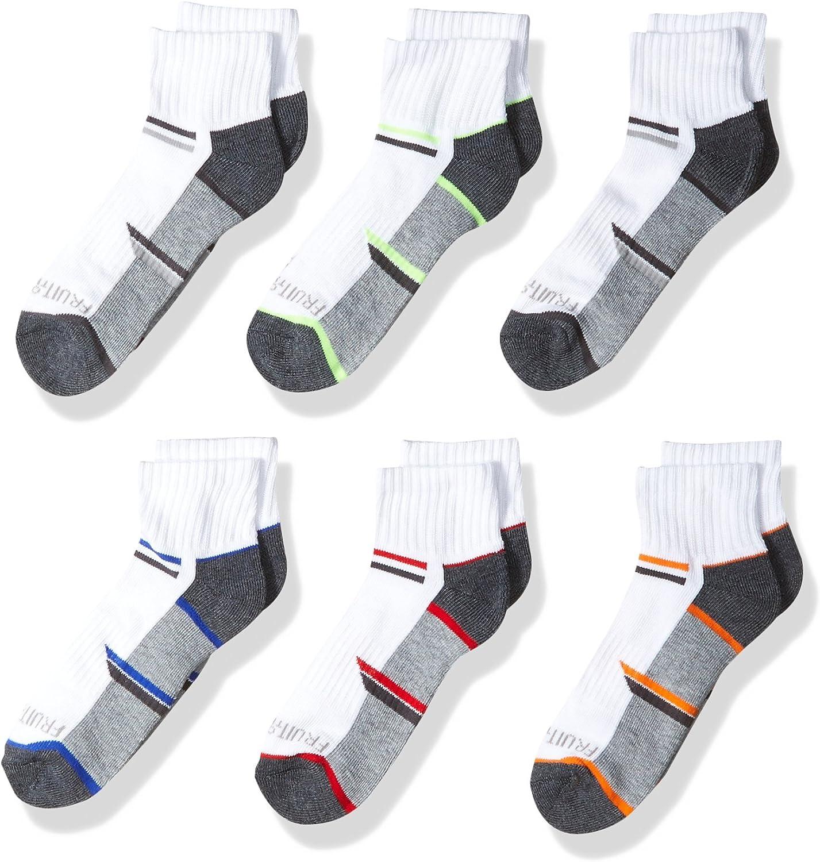 Fruit of the Loom boys 6-pair Half Cushion Ankle Socks Casual Sock