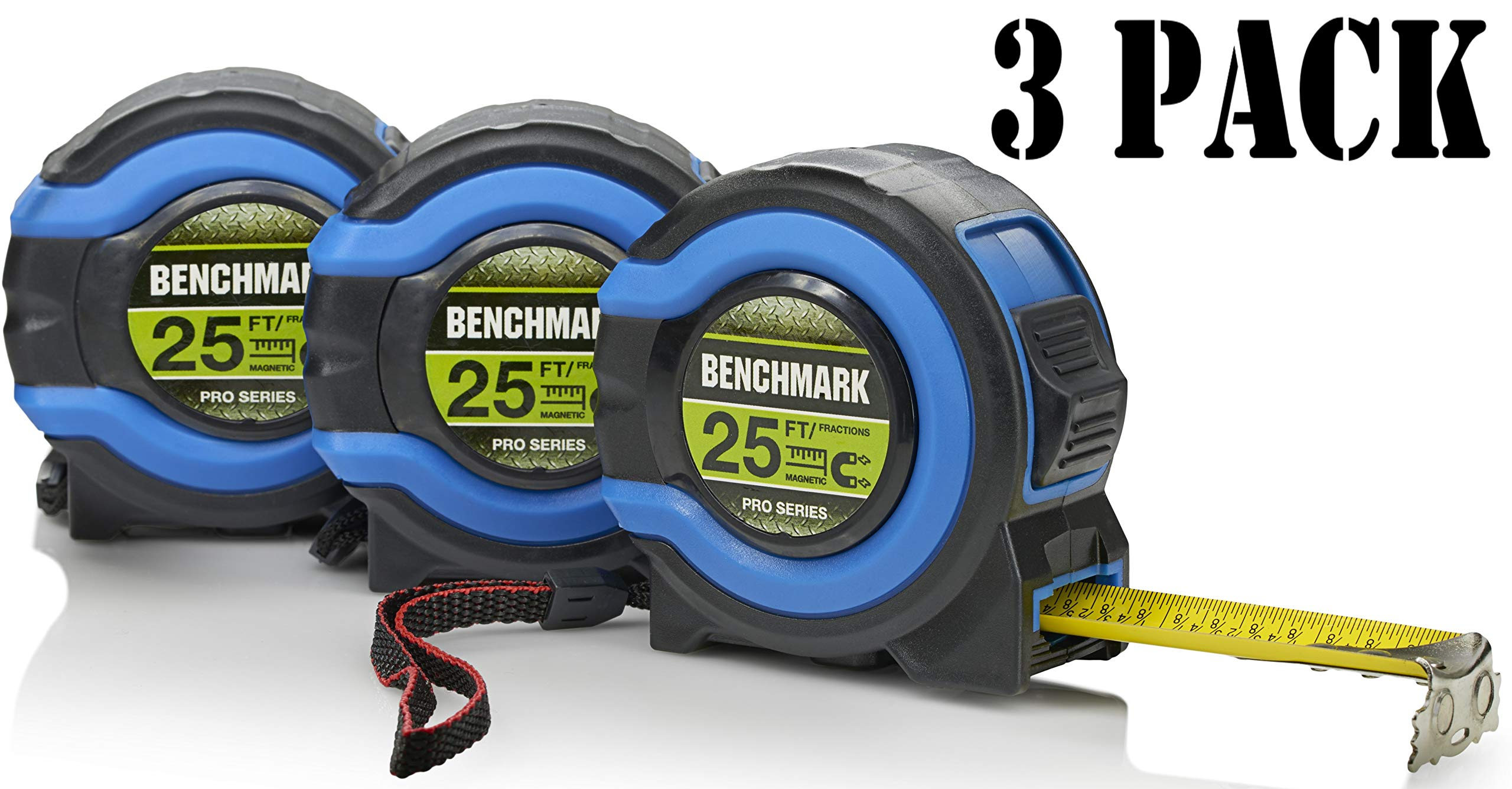 3 Pack - 25 FT - Benchmark Tape Measure / Measuring Tape - Easy to Read Fractions - Large Magnetic Claw Tip - Bulk Pack
