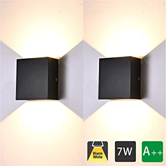 2 Pcs Aplique Pared Interior LED 7W Lámpara de pared Moderna 3000K Blanco Cálido Perfecto para Salon Dormitorio Sala Pasillo Escalera (Negro): Amazon.es: Iluminación