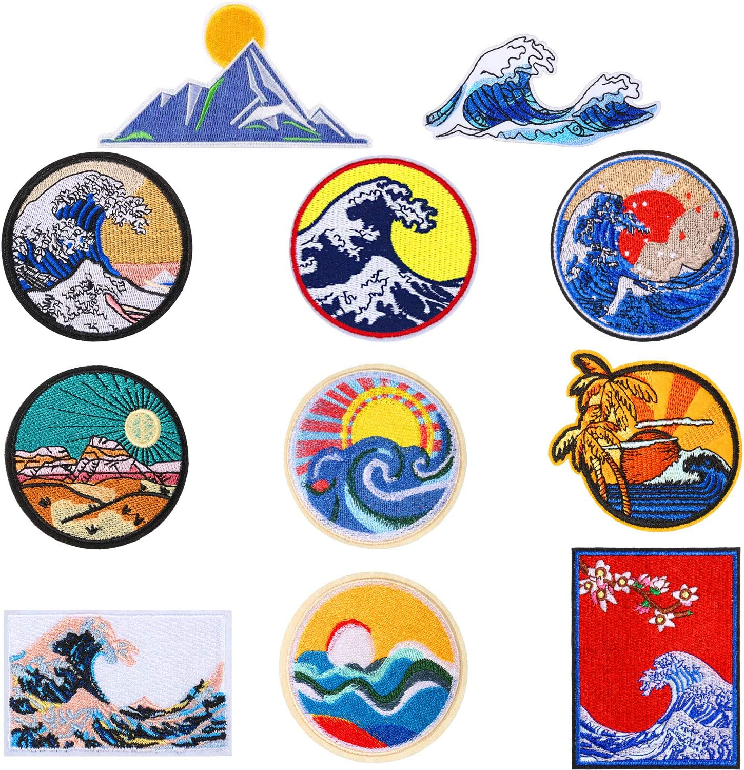 11 Pieces Wave Off Kanagawa Patch Embroidered Applique Badge Iron on Sew on Emblem DIY Accessories