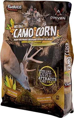 Evolved Habitats Dirt Bag Camo Corn 5 Lb Bag   Ground Corn Deer Protein Supplement & Attractant