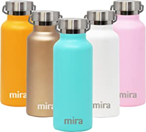 MIRA Stainless Steel Vacuum Insulated Water Bottle - Alpine Thermos Flask with 2 Lids - Keeps Water Stay Cold for 24 Hours, Hot for 12 Hours - Hydro Bottle BPA-Free Cap - Teal - 17 oz
