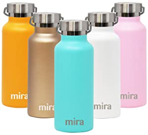 MIRA Stainless Steel Vacuum Insulated Water Bottle | Alpine Thermos Flask with 2 Lids | Keeps Water Stay Cold for 24 Hours, Hot for 12 Hours | Metal Bottle BPA-Free Cap | Teal | 17 oz