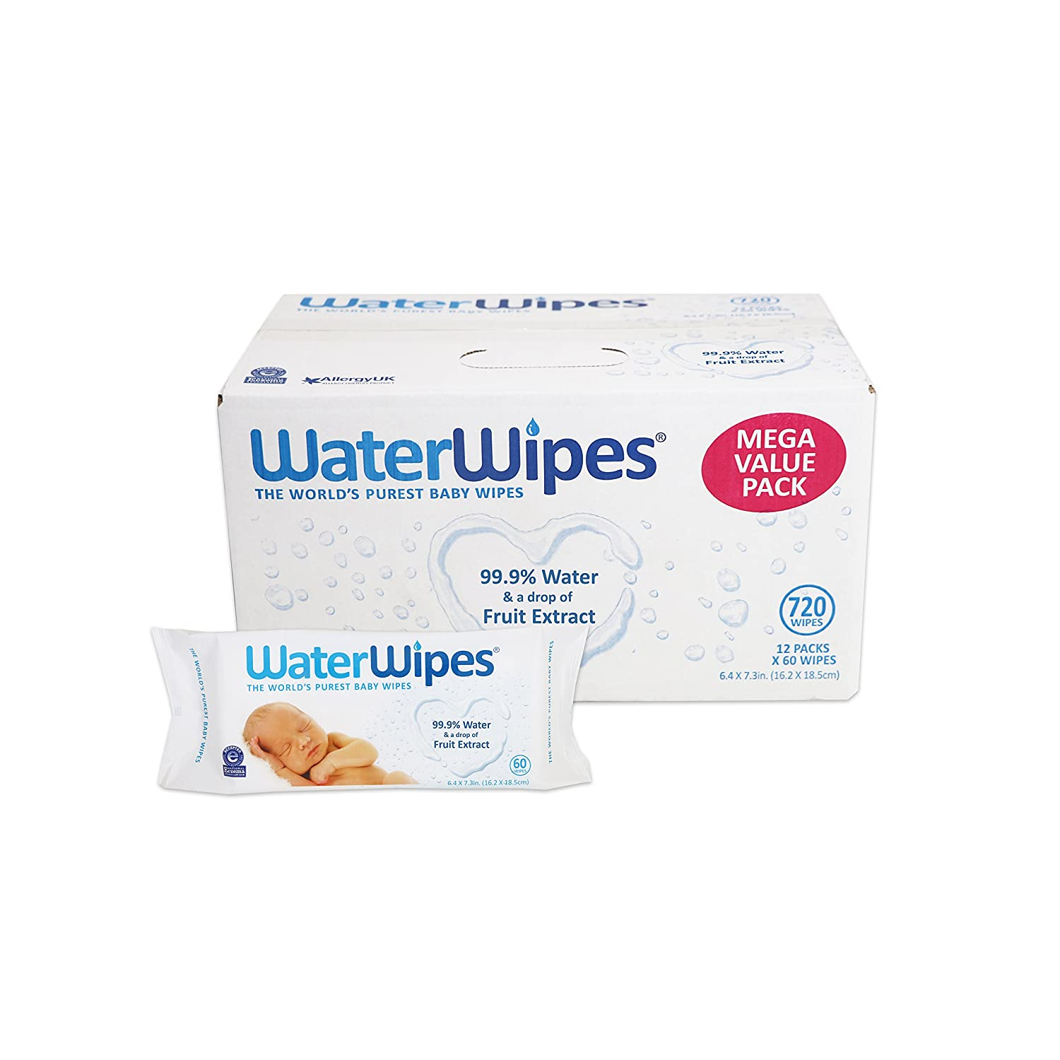 Amazon WaterWipes Sensitive Baby Wipes 12 Packs of 60 Count