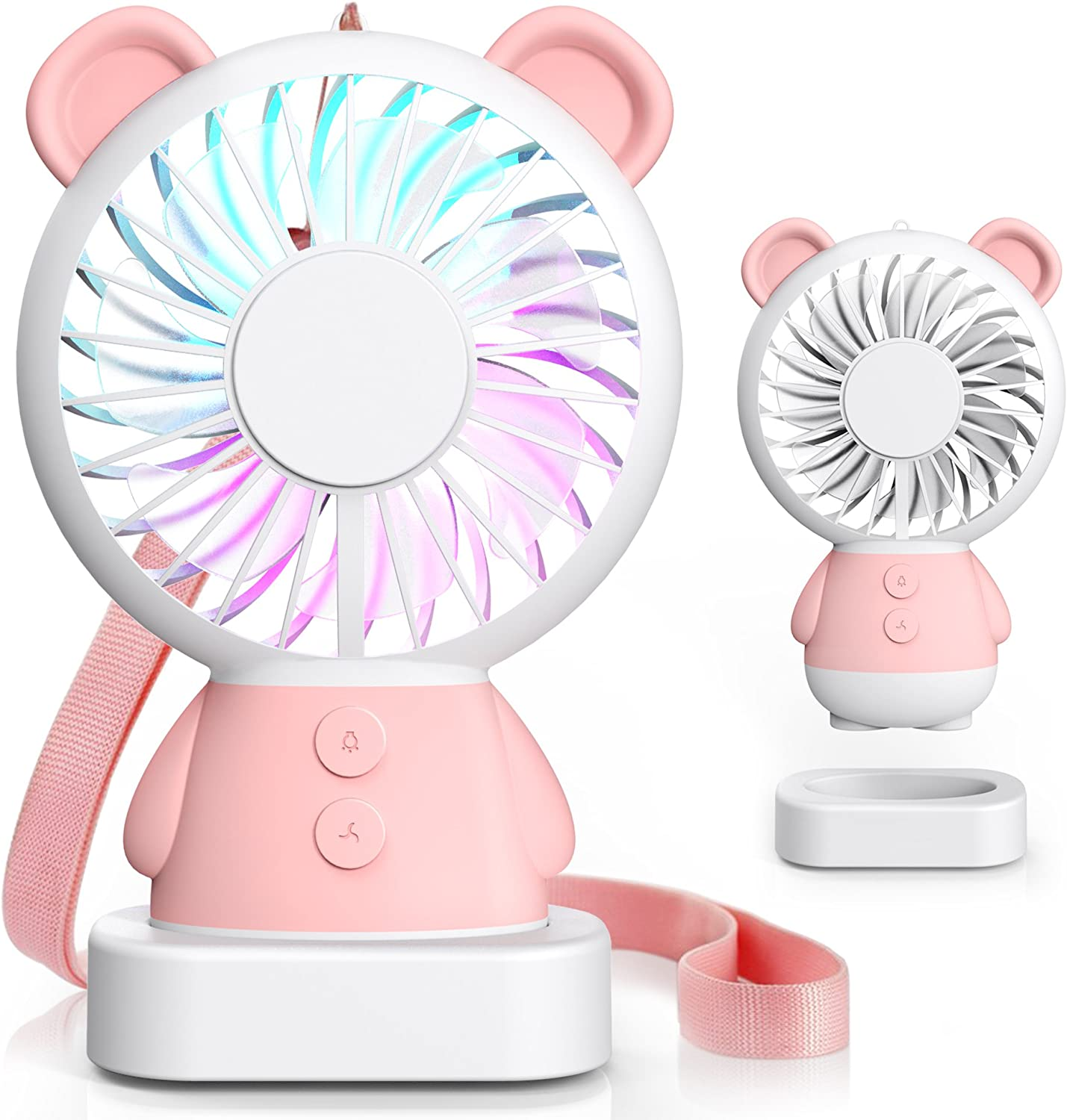 brown Tintec Adorable /& Cute USB Rechargeable Fan USB Fan 2 Adjustable Speeds Small Personal Necklace Fan with Multi-Color LED Light Perfect for Indoor or Outdoor Activities