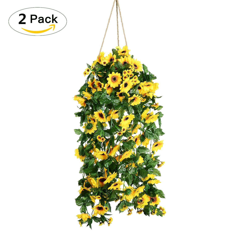 2Pcs Artificial Sunflower Garland Silk Flower for Home Kitchen Wall ...