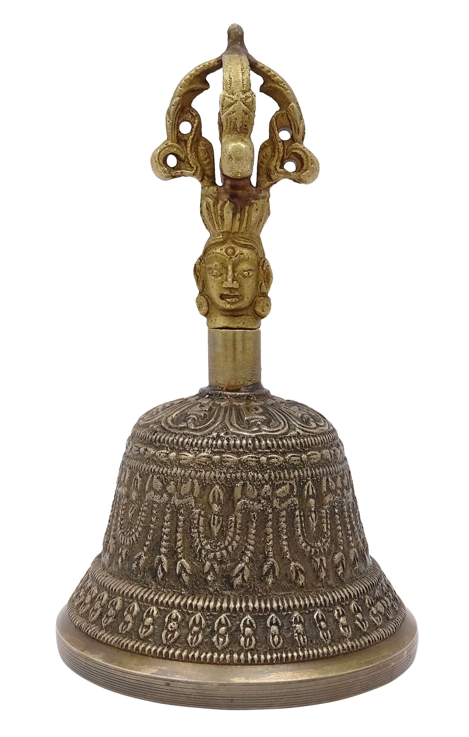 Antique Tibetan Religious Brass Quality Bell Handmade Vajra Dorje Prayer Bell