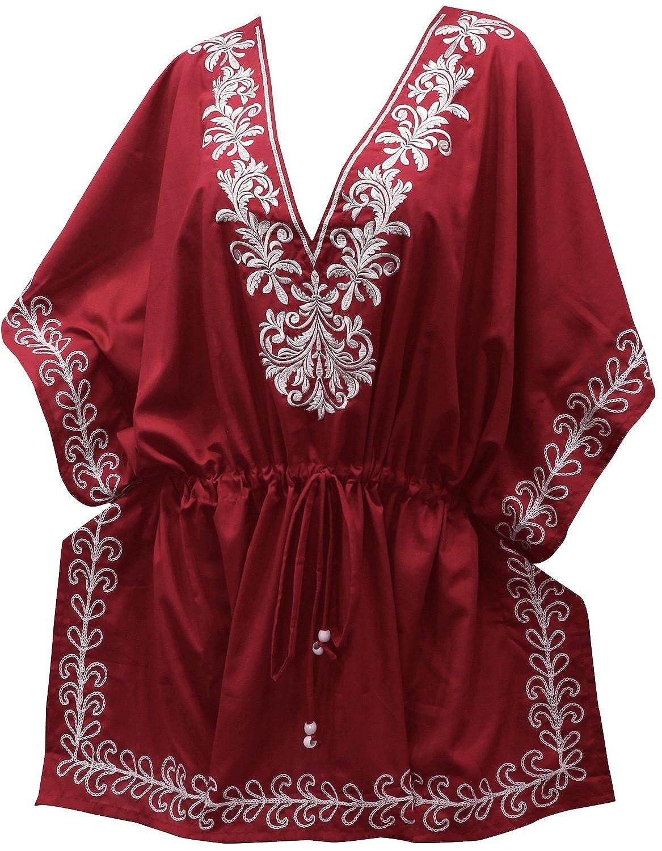 La Leelaレディースレーヨン刺繍カジュアルイブニングドレスBeachwear水着ビキニCoverup B01N2W5NE7