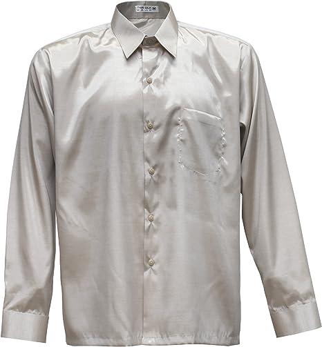 Hombres camisa de manga larga de seda tailandesa crema, crema, XXL: Amazon.es: Hogar