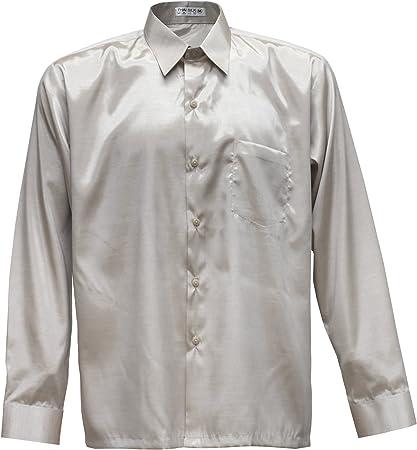 Camiseta para hombre de manga larga de seda tailandesa crema ...