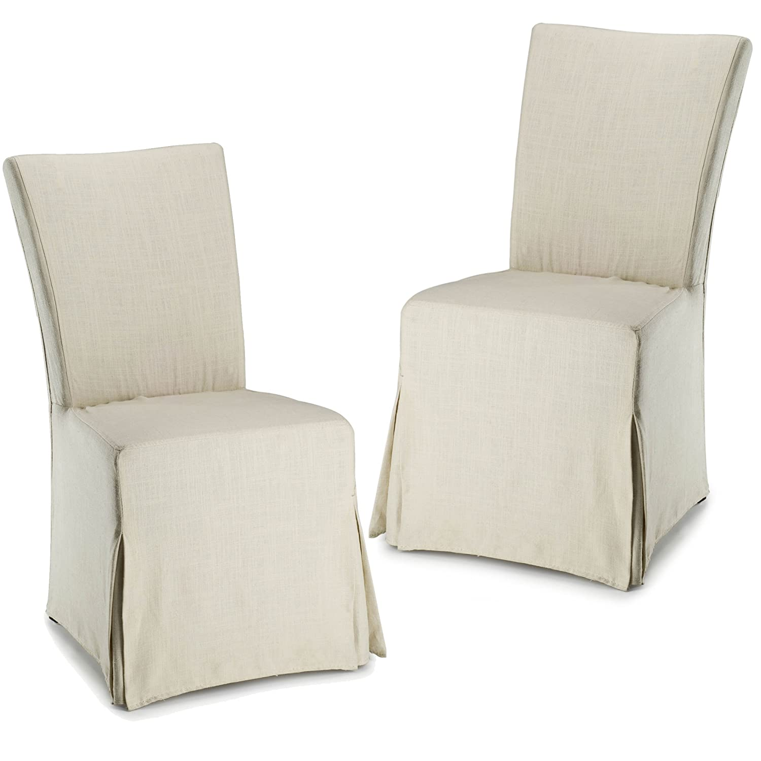 Amazon com safavieh hud4207a set2 hudson collection ella linen slipcover side chairs set of 2 beige kitchen dining