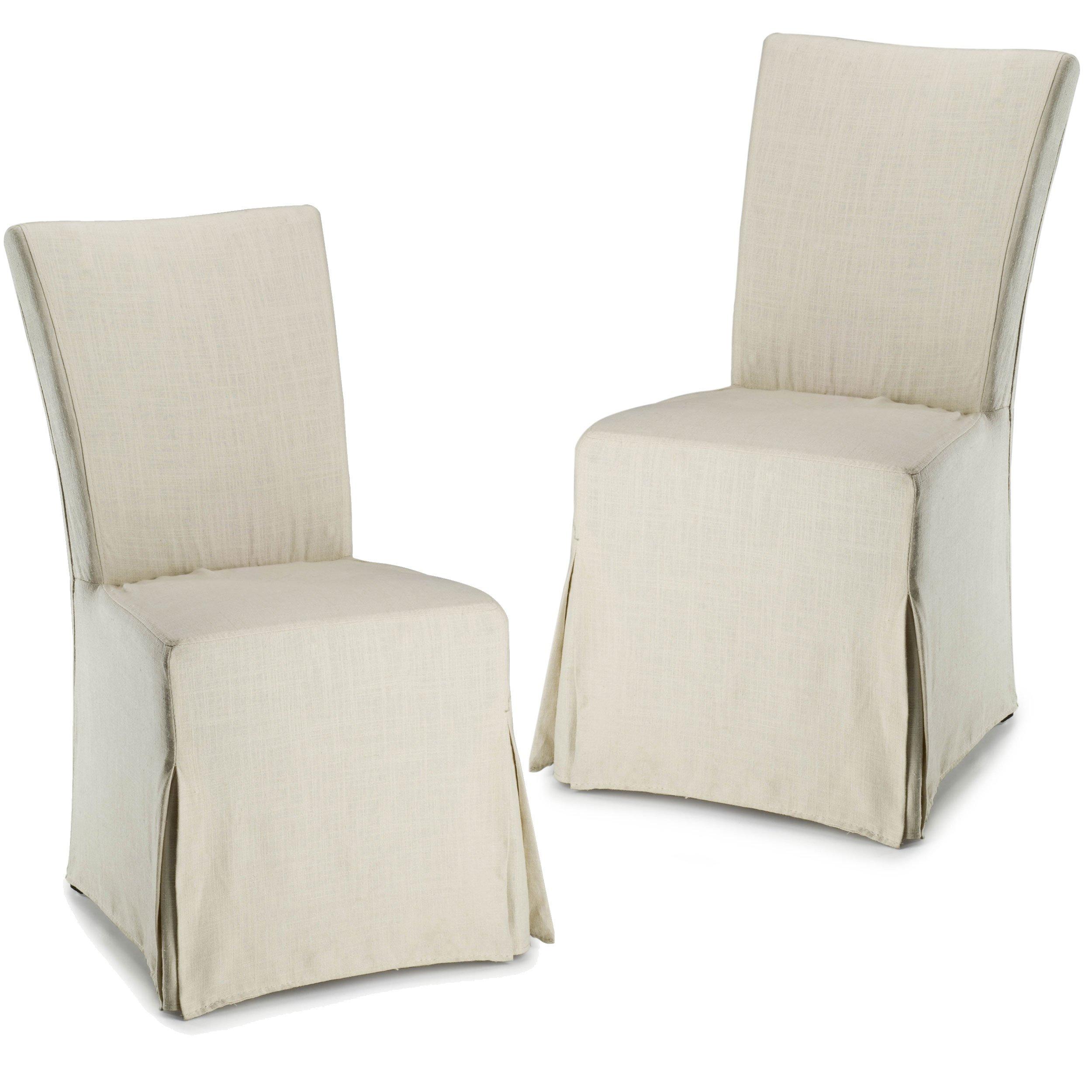 Safavieh Hudson Collection Ella Linen Slipcover Side Chairs, Beige, Set of 2