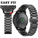 ANCOOL Garmin Fenix 5 Easy Fit Band 22mm Replacement Stainless Steel Metal Band for Garmin Fenix 5 - Black