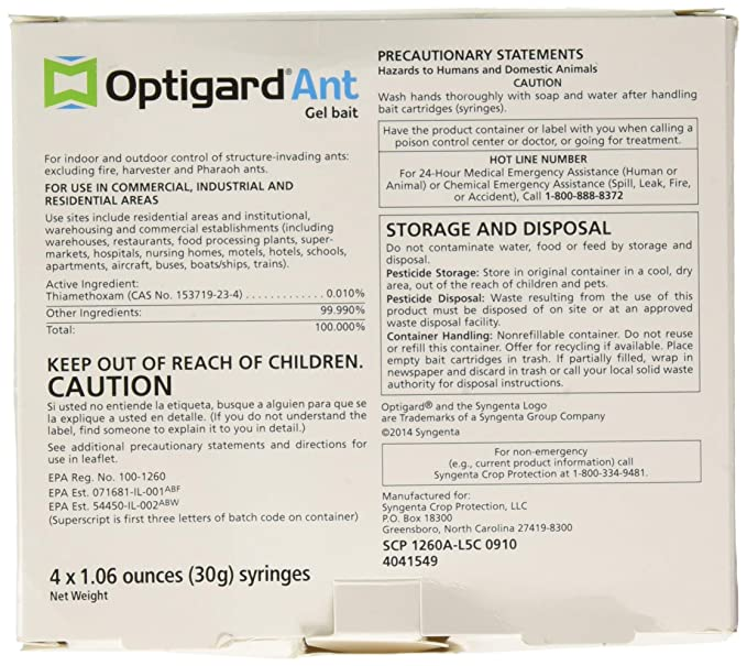 Amazon Optigard Ant Bait Gel Syngenta Trtd11568 Box 4