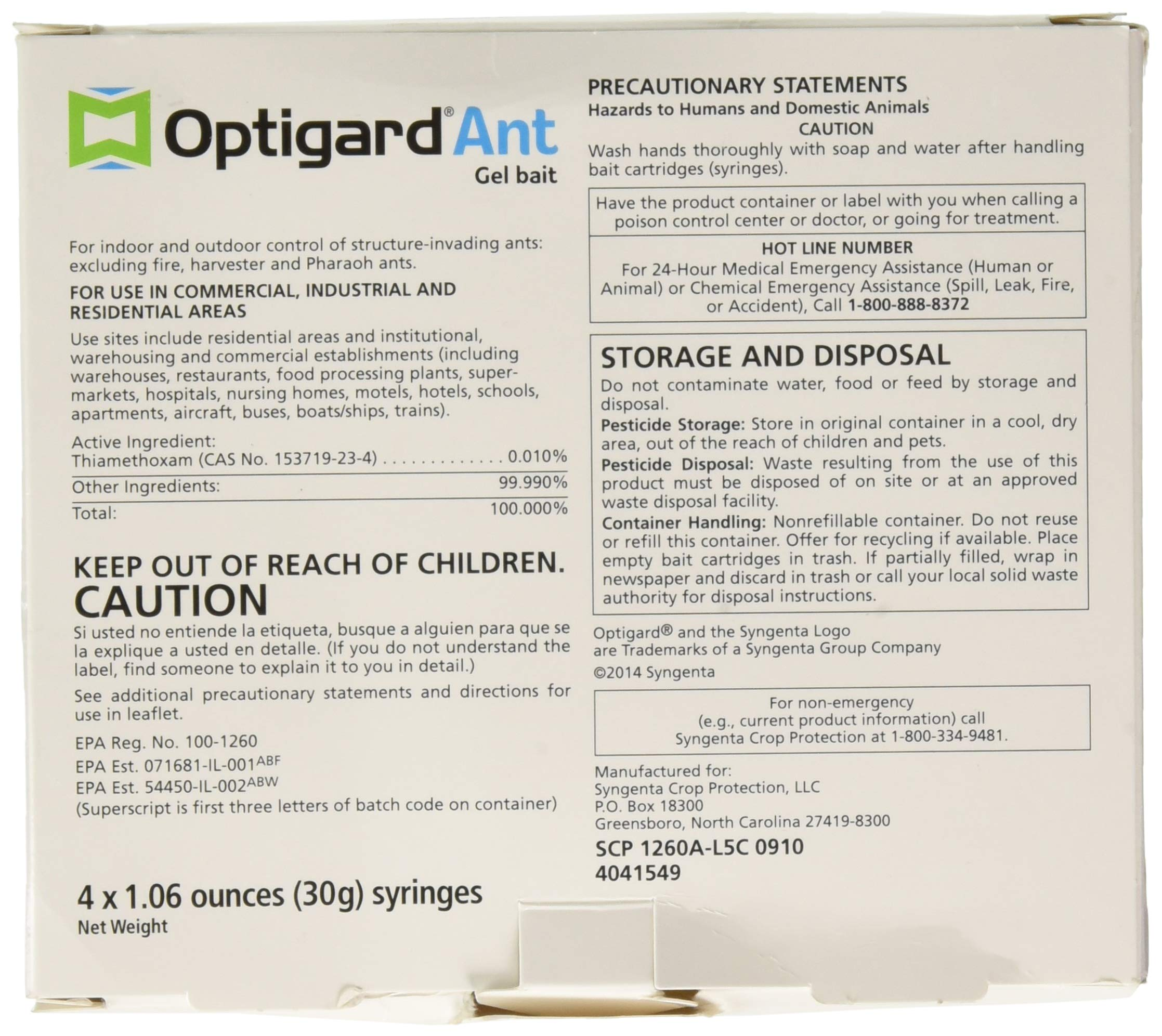 Syngenta - TRTD11568 - Optigard Ant Bait Gel Box - 4 Tubes w/ Plunger - 30g each tube 3 Target pests: For indoor and outdoor control of structure-invading ants including argentine ants, carpenter ants, and ghost ants and other nuisance ant pests; excluding fire, harvester and pharaoh ants. Highly attractive formula promotes ready transfer of the active ingredient throughout the colony Powerful, active ingredient knocks out workers, brood and queens