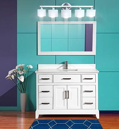 Vanity Art 48 Inches Single Sink Bathroom Vanity Set White Super Phoenix Stone Top 7 Drawers 1 Shelf Undermount Rectangle Sink Cabinet With Free Mirror Va1048 W Amazon Com