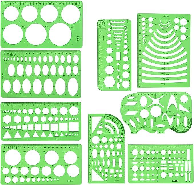 2pcs Geometric Drawing Template Measuring Ruler Plastic 23cm 18cm for Art Design