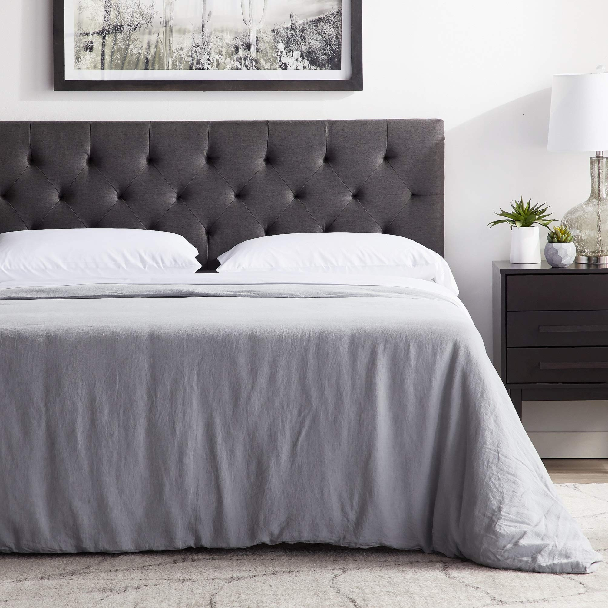 LUCID Mid-Rise Upholstered Headboard - Adjustable Height from 34'' to 46'' - Queen - Charcoal