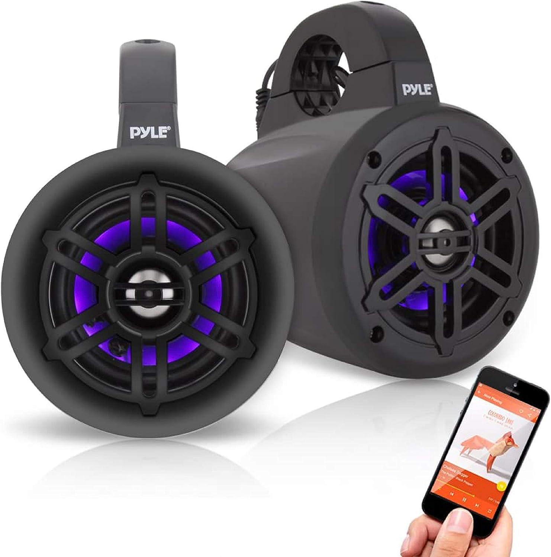 Pyle PLMRLEWB10BB 10 Inch 10 Watt Bluetooth Wireless Streaming Waterproof  Marine Grade Tower Speaker System, Pair