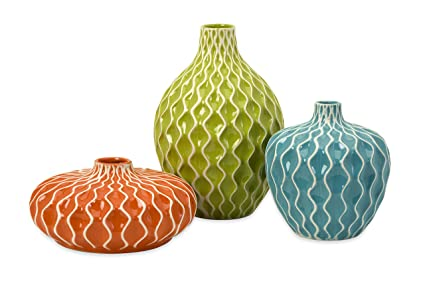 Amazon.com: IMAX 25016-3 Agatha Ceramic Vases – Set of 3 Decorative ...