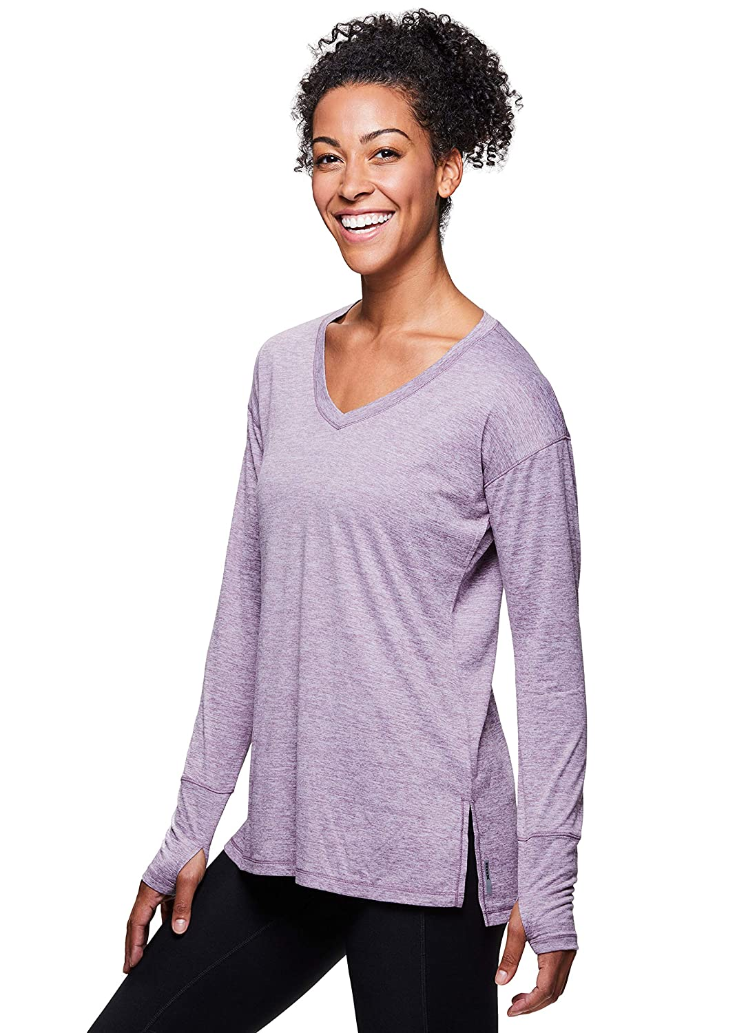 38f38915a27711 RBX Active Women's Long Sleeve Striped 2-fer Back Top: Amazon.ca: Clothing  & Accessories