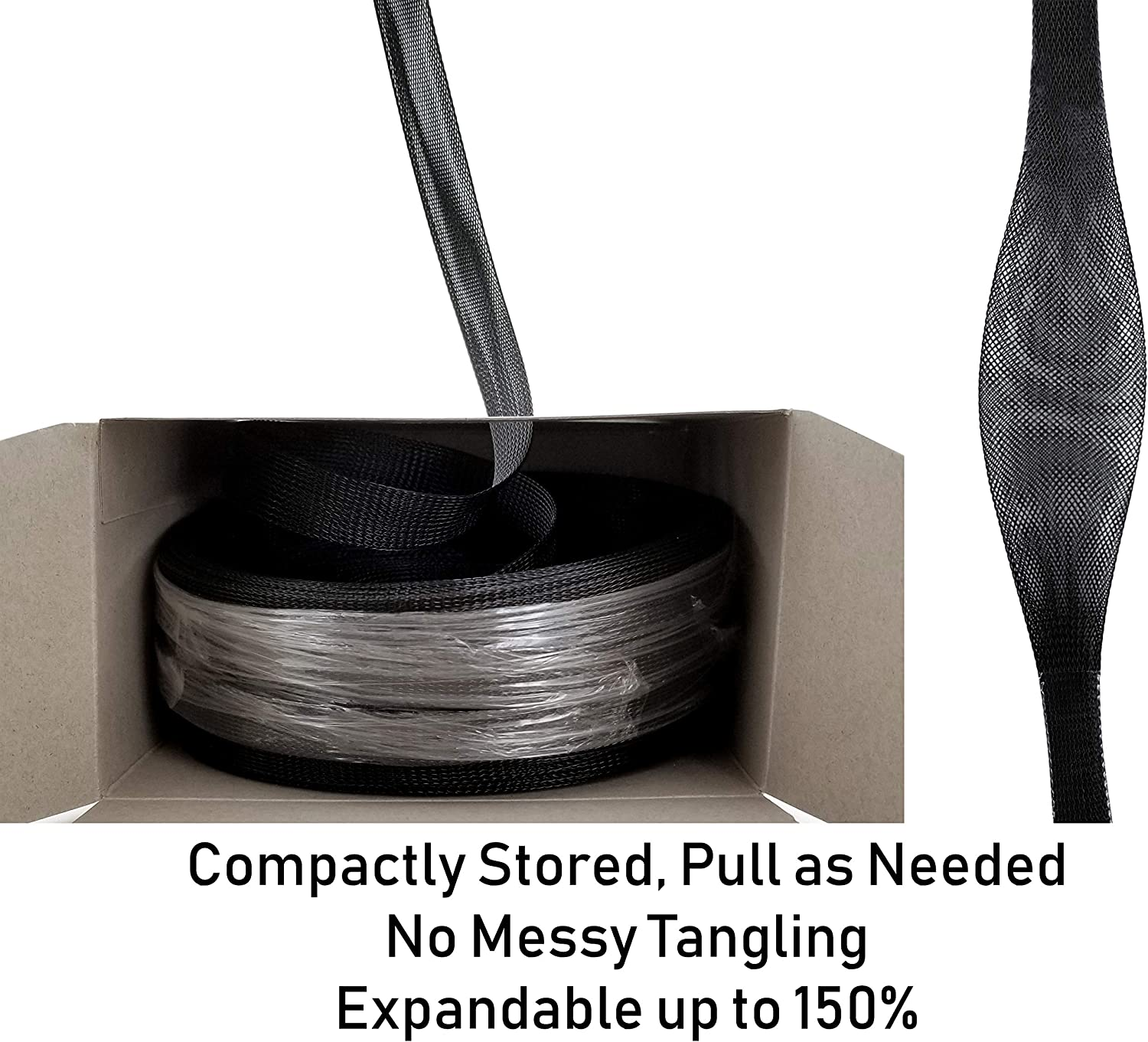 Size: 3//8 inch Other Size Option: 1//8   1//4   1//2   3//4   1 GS Powers 100 FT Braided Expandable Sleeving Cable Loom Black Polyethylene PET High Temperature Electrical Wire Sleeve