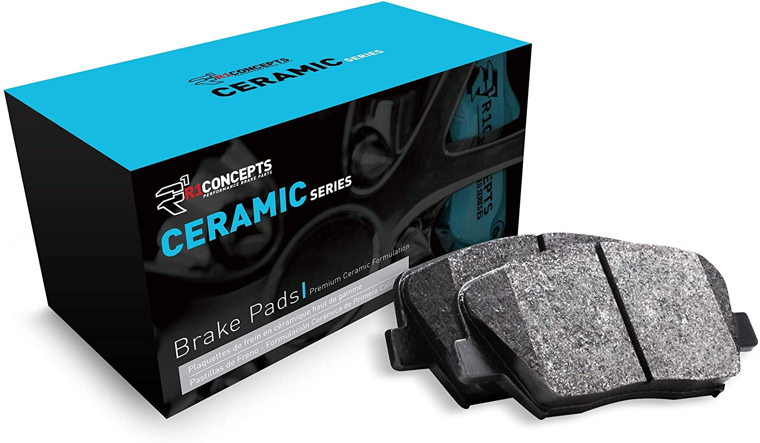 Front R1 Concepts Ceramic Series Brake Pad With Rubber Steel Rubber Shims