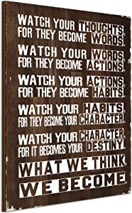 Inspirational Wall Art Motivational Quotes Wall Decor Watch Your Thoughts Motivational Poster Classroom Motivational Sign Farmhouse Wall Art Rustic Wall Decor for Office Living Room Home Decoration