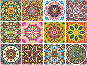 PARTH IMPEX Mandala Decorative Stickers - (Pack of 24) 6x6 Inch Backsplash Peel and Stick Vinyl Tile Decals for Kitchen Wall Stairs Furniture Staircase DIY Home Decor