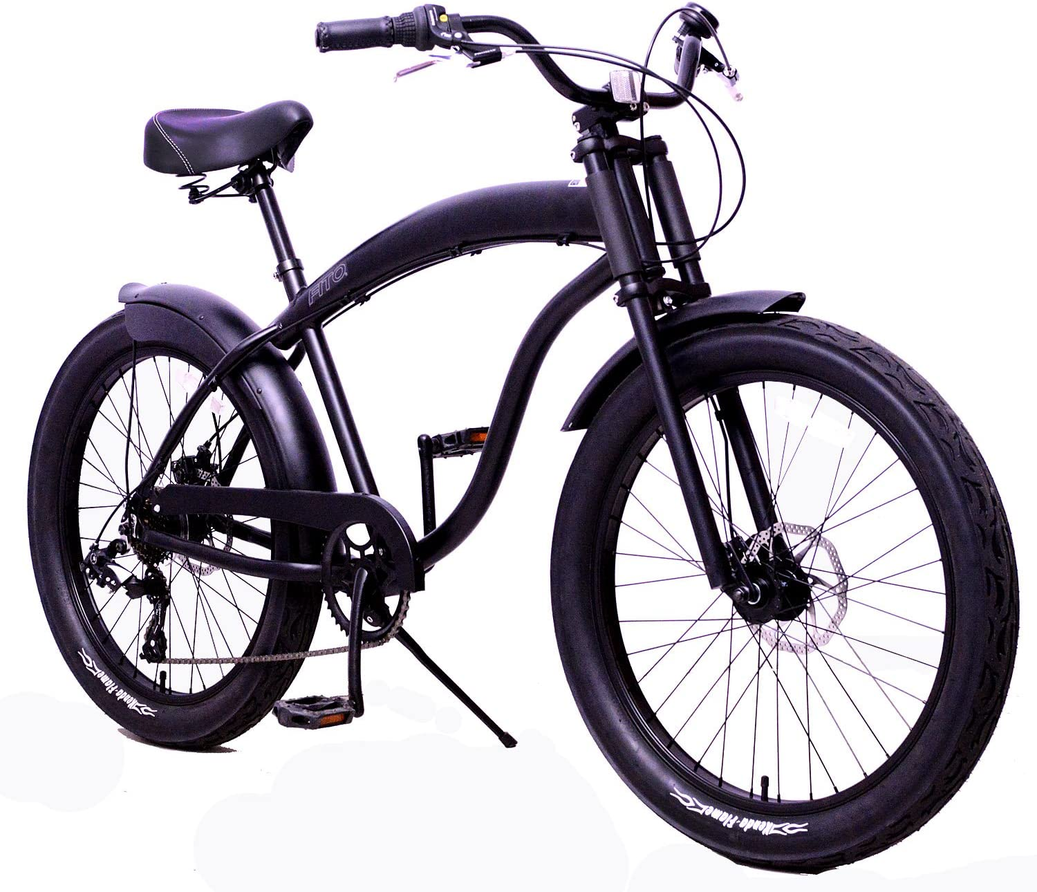 Fito Anti-Rust and Light Weight Aluminum Frame Modena GT-2 Alloy Shimano 7-Speed Shimano Disk Brakes 26 Mens Beach Cruiser Bike Bicycle Matte Black