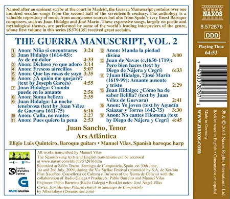 The Guerra Manuscript /Vol.2: Juan Sancho, Manuel Vilas: Amazon.es: Música