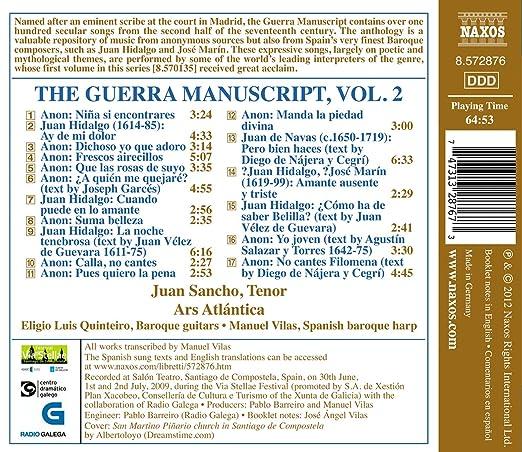 The Guerra Manuscript /Vol.2: Juan Sancho, Manuel Vilas: Amazon.es: Música