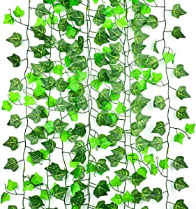 Artificial Ivy Leaves 12 Strands, CLTPY Ivy Garland Fake Plant Vines 94 Ft, Greenery Foliage Flower Decorations Hanging Plant for Garden/Wedding/Home/Party/Office/Wall Decoration (Light & Deep Green)