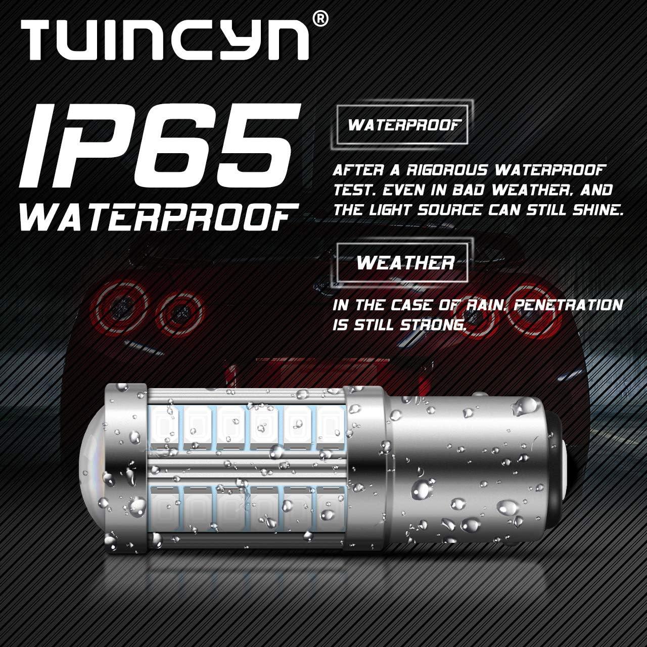 TUINCYN 1156 LED Bulb Red Brake Light Bulb Super Bright 5630 33SMD 1141 1073 7506 Tail Light Turn Signals Light Back Up Reverse Light Parking Light Side Marker Bulbs RV Light Lamp Pack of 4