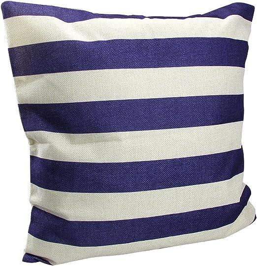 homiki 1pc cojín con 100% fibra relleno rayas Denim Marino rayas crema azul y blanco cojín funda de cojín (algodón forma de almohada cuadrado 45 * 45 cm: Amazon.es: Hogar
