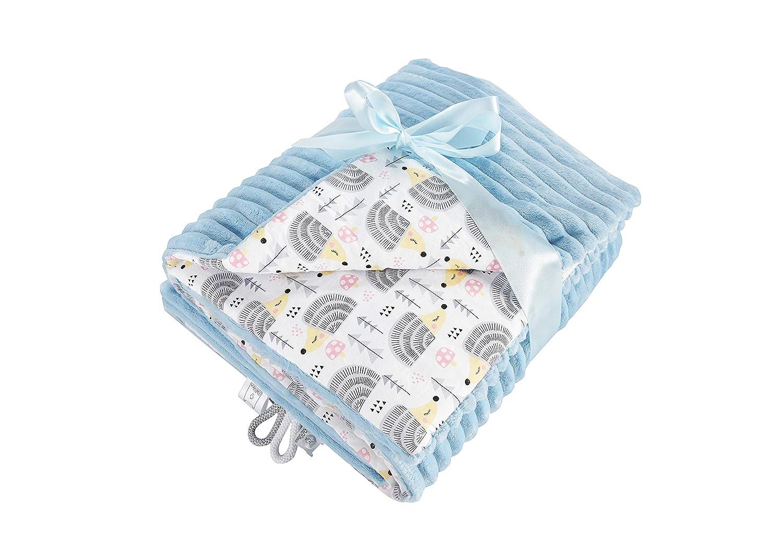 EliMeli Couverture d'éveil pour bébé 75 x 100 cm en tissu microfibre ultra doux à rayures en coton Garnissage de grande qualité Idéal comme couverture de poussette