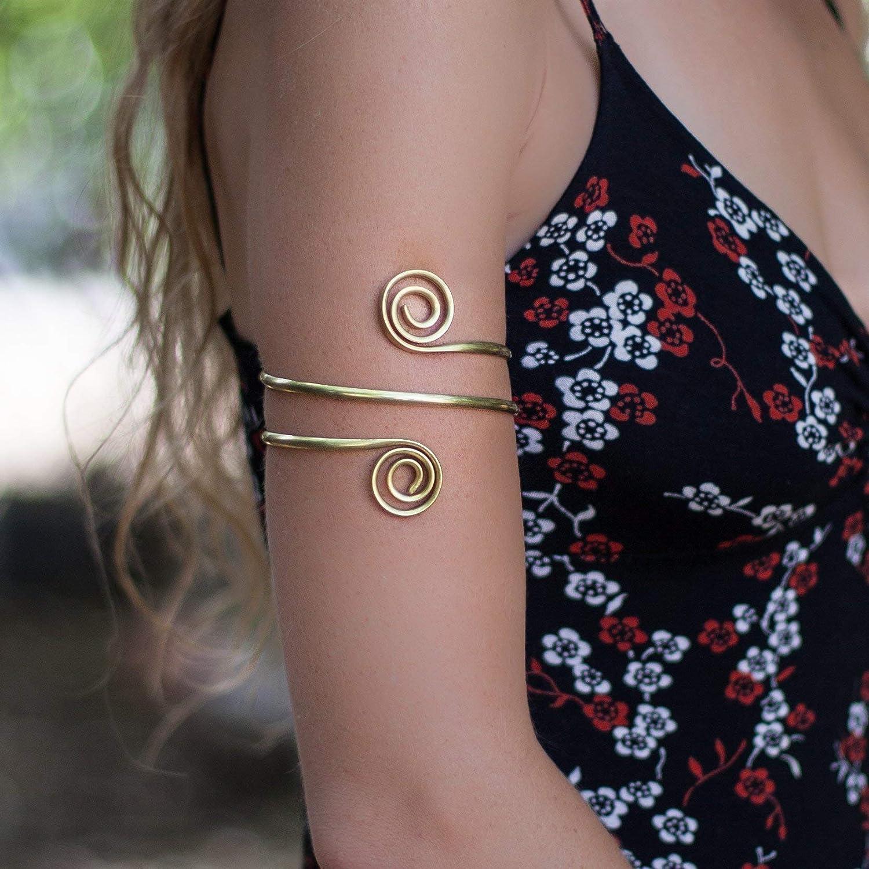 Amazon Com Upper Arm Bracelet Armlet Golden Arm Cuff Brass Gypsy Arm Cuff Boho Beach Tribal Sexy Armlet Spiral Arm Cuff Double Wrap Gift Handmade