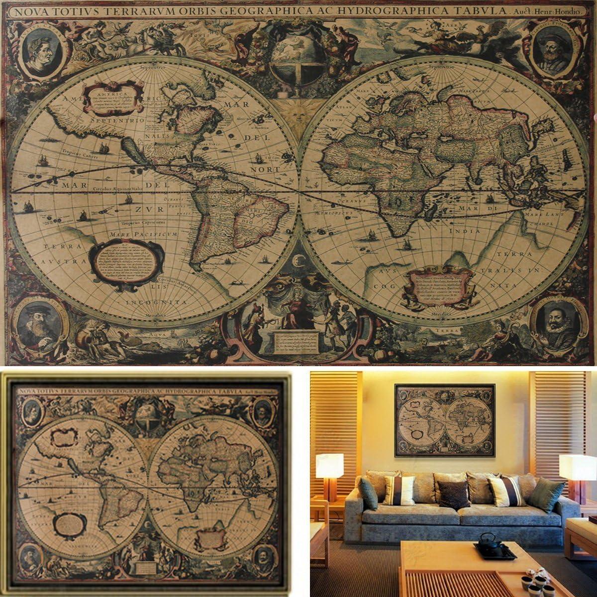 Rainbabe pittura mappa del mondo vintage Artwork PICTURES for home Wall Decor