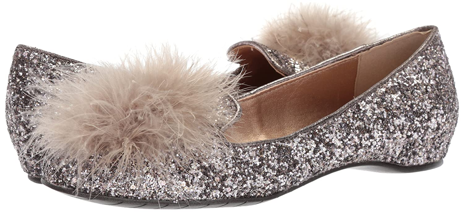 Kenneth Cole REACTION Women's Gen-Ie Bottle Glitter Feather Pom B(M) Ballet Flat B07619HV13 6.5 B(M) Pom US|Bronze 25685a