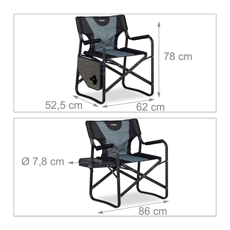 Silla Plegable con Mesa y Posavasos para Camping Jard/ín y Pesca Relaxdays Aluminio-PVC 78 x 86 x 52,5 cm Negro-Gris